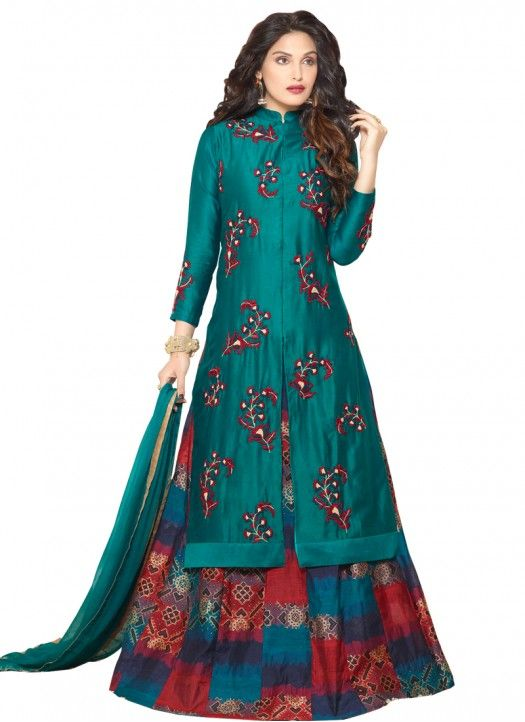 New Latest Arrival Teal Banglori Silk Indo Western