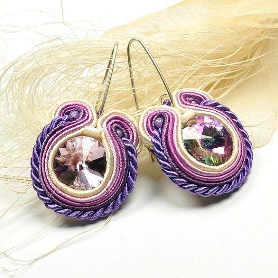 Hand Embroidered Soutache Earrings. Purple Soutache Earrings with Swarovski Crystal. Oriental Earrings. Soutache Jewelry.