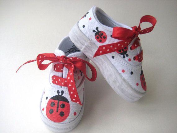 Girls Ladybug Shoes Painted Toddler or by boygirlboygirldesign, $30.00