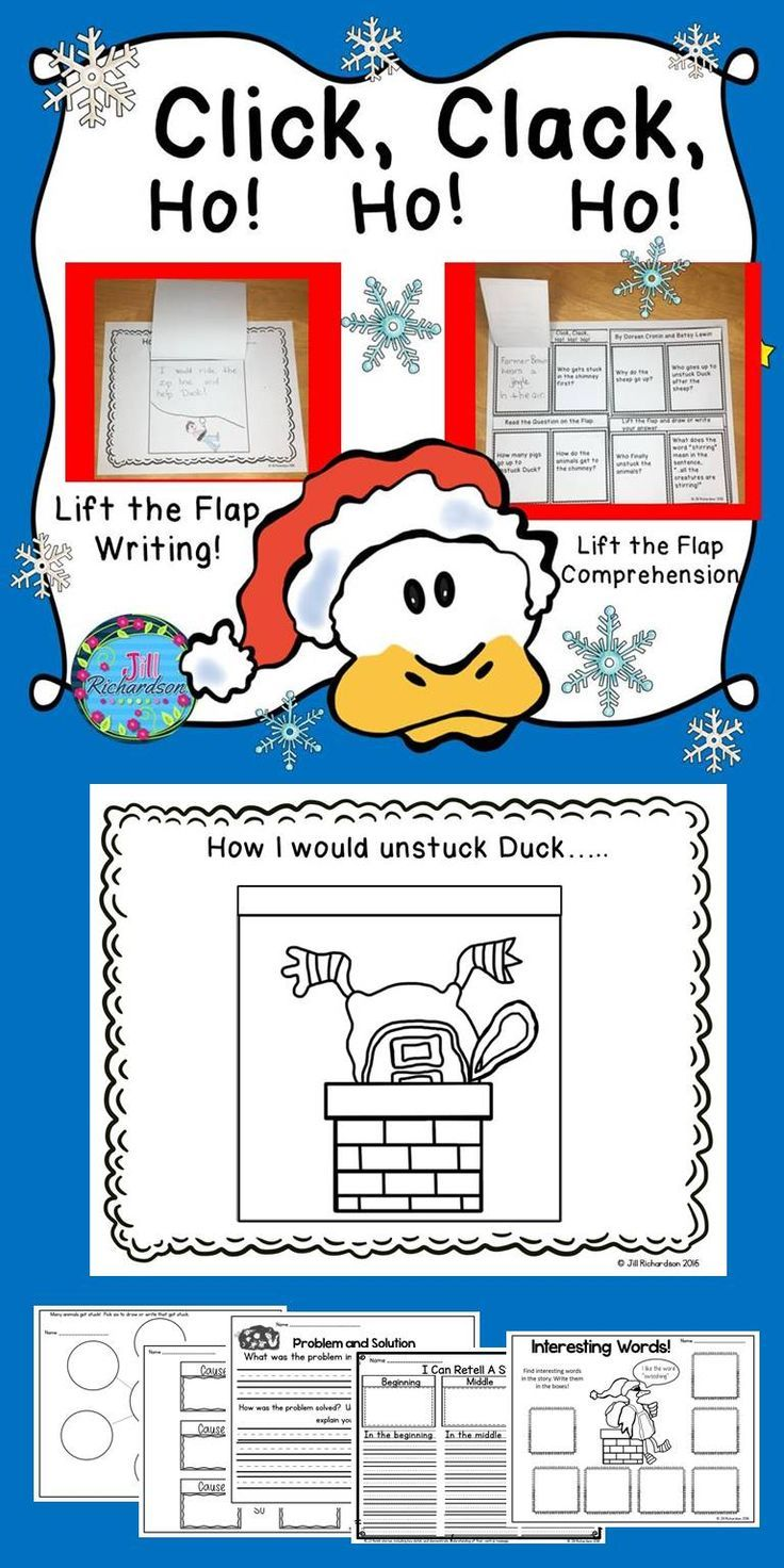 "What a fun resource this is! Use it after reading Click, Clack, Ho! Ho! Ho! by Doreen Cronin and Betsy Levin  Included: 1 Lift the Flap Comprehension Flap Book and Answer Key 1 Lift the Flap ""How I would unstuck Duck…"" Writing Activity Animals That Got Stuck Cause and Effect Problem and Solution Interesting Words I Can Retell a Story"