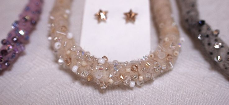 Beaded wool necklace with swarovski elements http://thebigday.ro