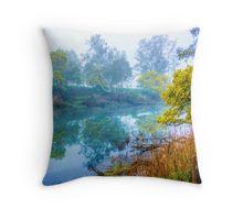 Foggy Start to the Day at Lake Eildon Throw Pillow