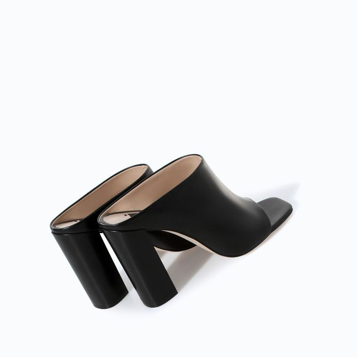 LEATHER HIGH HEEL MULES from Zara