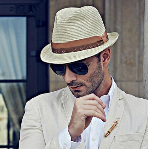Summer straw sun hats for men gentleman UV beach panama fedora hat ...