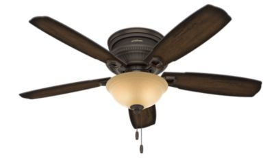 The traditional ceiling fan gets a formal upgrade with the Ambrose, one of the signature pieces from the Hunter Designer Series. High-end finishes and classic, ornate details complement each other throughout every element of the fan – even the low-profile motor housing. The dimmable LED bulbs and bowl glass will give you the lighting you desire, and the 52-inch blade span will cool large rooms with ease. Take a look at our complete Ambrose collection to see a variety of sizes and options…