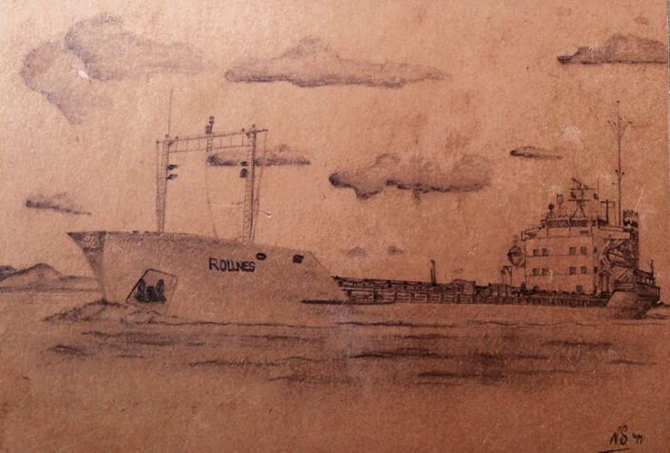 Pencil sketch of my first ship deep sea, the Rollnes . Owned by Jebsen UK.