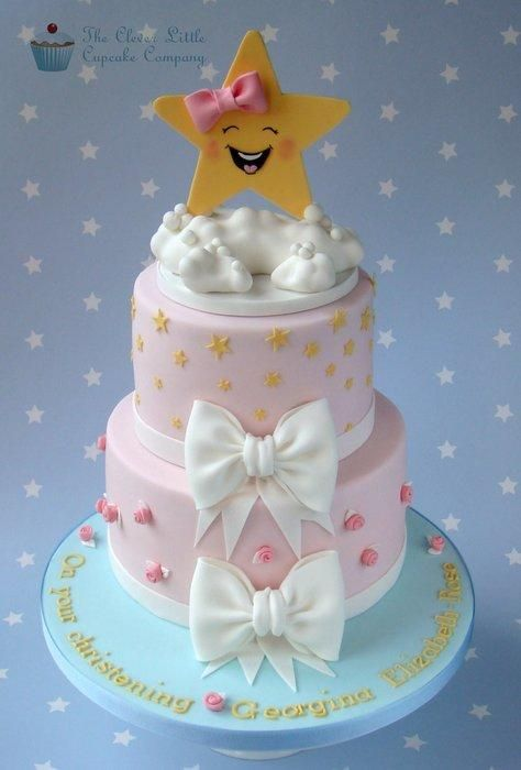 Twinkle Twinkle Christening Cake....I thought it was cute for your bows  balloons, maybe the star holding balloons?  Just throwing it out there!   :-)