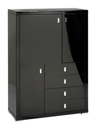A contemporary sideboard that provides ample storage space with its cupboards and drawers combinations without sacrificing storage space. The gloss finish contrasts with the gloss finish to make a statement.