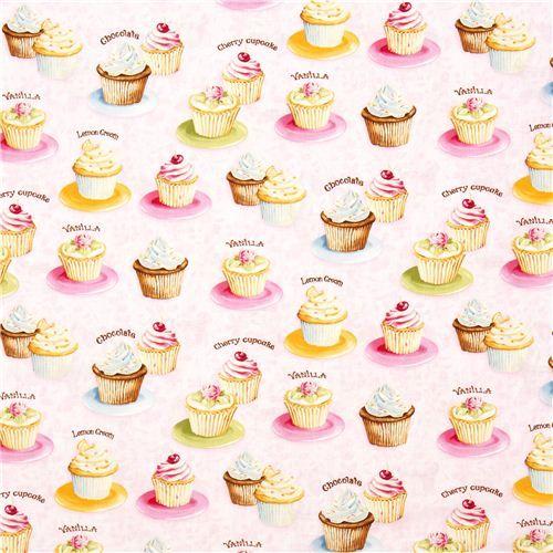 pink cupcakes fabric cherry