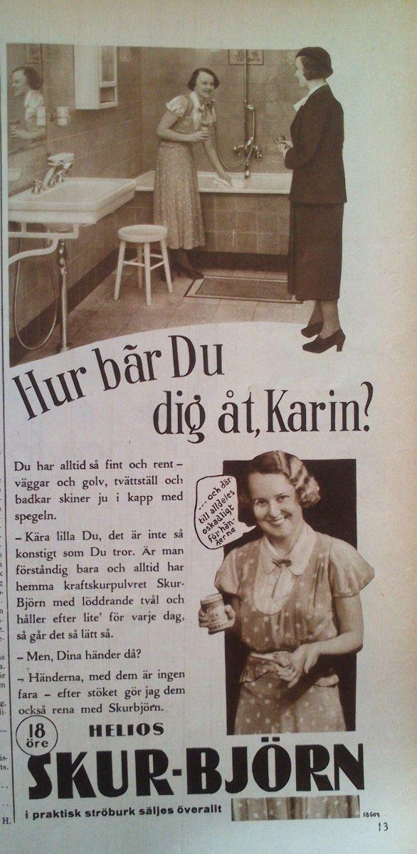 """Annons för städprodukter, från """"Husmodern"""" 1934"""