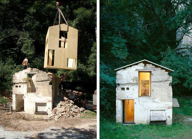 Una casa de madera dentro de una casa de piedra|Espacios en madera