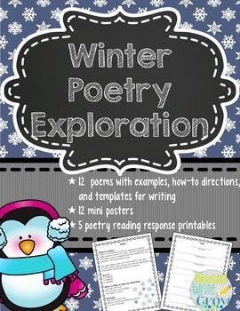 This winter poetry exploration unit includes everything you need to teach 12 different types of poems, including definitions, how to directions, and examples. A writing template is included for each type of poem. Perfect for the snowy season! What you'll get: •What is Poetry? • Ideas • Acrostic • Haiku • Lune • Cinquain • Diamante • Concrete Poem • Simile Poem • Five Senses Poem • Couplet • Bio Poem • By the Numbers • Free Verse • Publishing Paper (lined, unline...