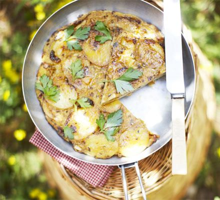 This thick, traditional Spanish omelette is bulked out with new potatoes and flavoured with herbs