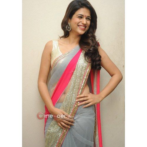 Shraddha Das Grey Color Designer Saree