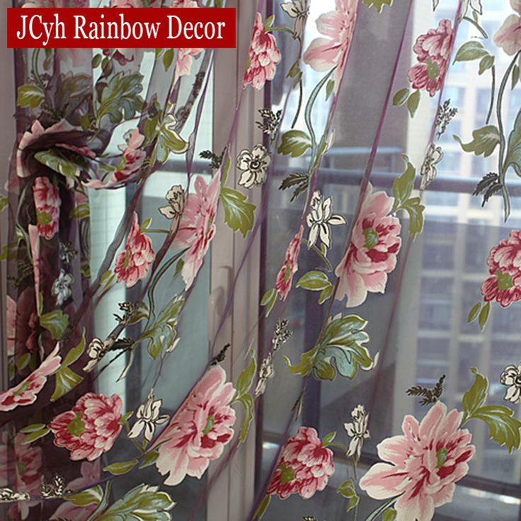 Floral Home Fabric Sheer Tulle Curtains For Living Room Children Bedroom Kitchen Door Curtains For Window Black Cortinas D #Affiliate
