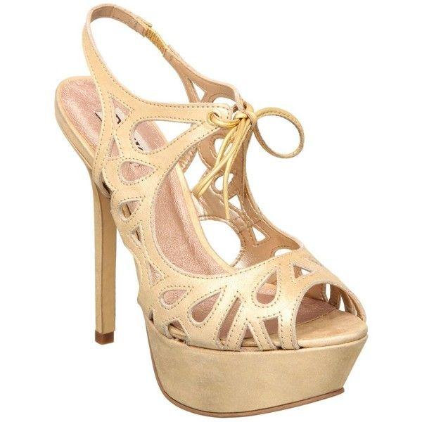 Dune gold laser cut suede sandal (48 BAM) ❤ liked on Polyvore featuring shoes, sandals, heels, women's clothing, ankle strap heel sandals, jewel sandals, ankle strap sandals, gold evening shoes and suede sandals
