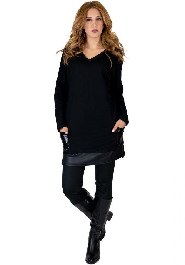 bf3205e6ceb2 Φόρεμα mini με δερματίνη και πούλιες  fashionista  dress  girls  mystyle   outfit