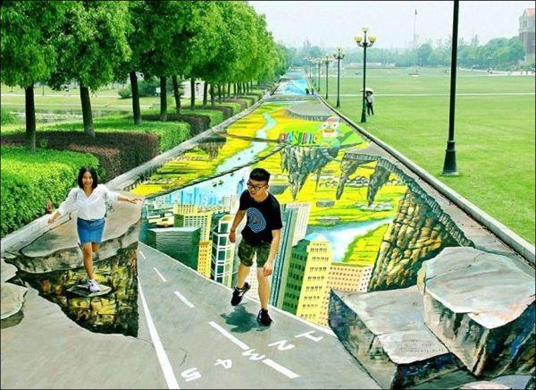 史上最大規模のアート 公園の歩道に描かれたトリックアート - http://naniomo.com/archives/5978