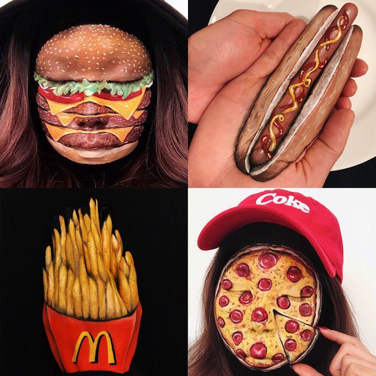 optische täuschung make up halloween fasching fast food gesicht hamburger pizza #halloween #fasching #makeup