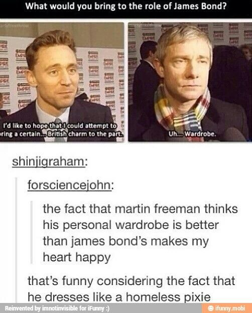 I wanna watch a James Bond movie wth Martin in it and his own wardrobe