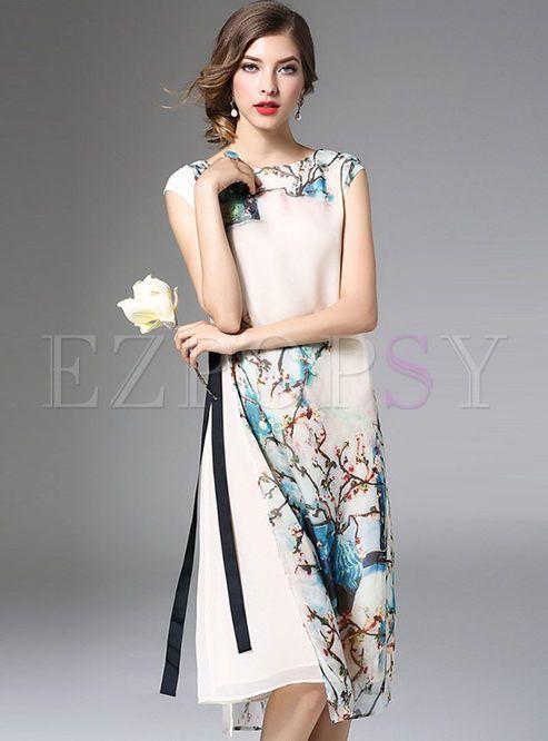 Shop for high quality Loose Elegant Floral Print Side Slit Shift Dress online at…