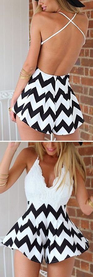 Chevron + White Romper
