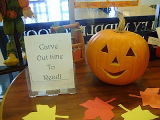 "I like this title: ""Carve Out Time to Read!"" for an idea for a Halloween bulletin board display that highlights reading.  I would have students complete a related creative writing assignment using pumpkin shaped templates.  From:  shelfmouse"