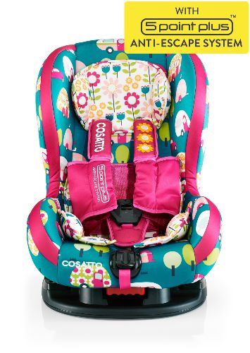 Colorful car seats and strollers