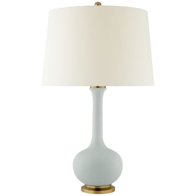 Coy medium table lamp by christopher spitzmiller in matte sky blue with natural percale shade
