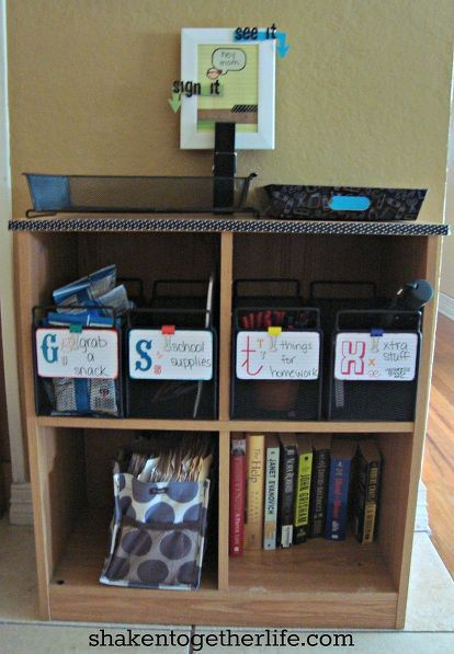 family organization station, organizing, storage ideas, Cubbies for snacks supplies books and bills