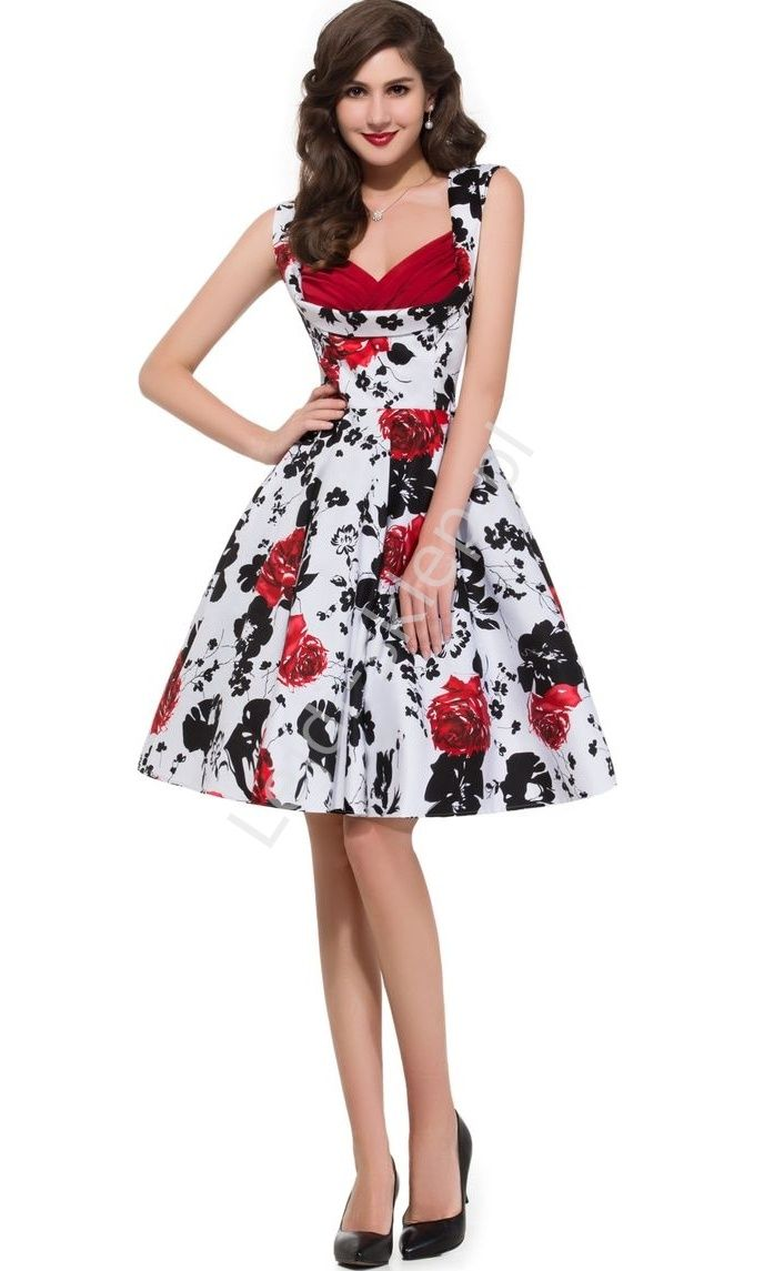 Kwiatowa sukienka w stylu retro z czerwonymi różami | sukienki w kwiaty