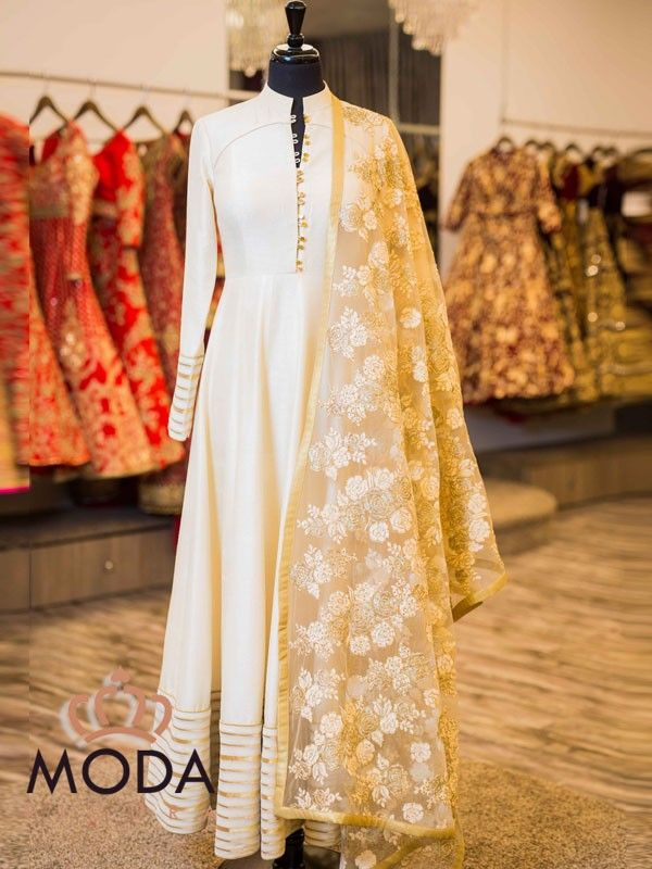 Indian formal party wear in pastel colour. Raw silk straight sober anarkali in pastel colour.