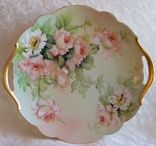 """Limoges Hand Painted Roses Cake Plate Large 13.5 inches ~ Artist Signed """"E. Miler"""""""