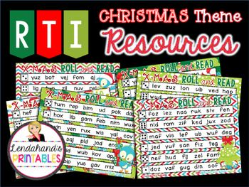 Roll and Read  with Consonant Vowel Consonant (CVC) Nonsense Words  (Christmas Theme)  Includes:6 nonsense word  COLOR Roll and Read printables.Either is a great little resource for your RTI table or literacy stations.  Tidbits of information  included as to how I use this little resource in my own first grade classroom.