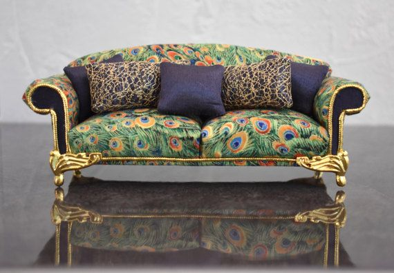 1:12 Scale Dolls House Classical Miniatures Rolled Arm Sofa