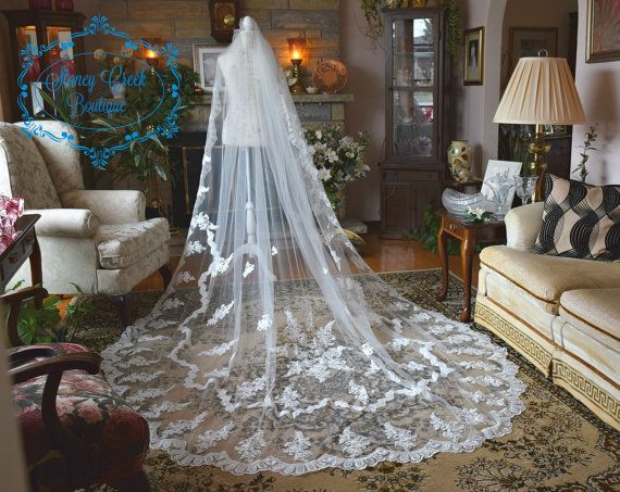 cathedral wedding veil Lace wedding veil by StoneyCreekBoutiques