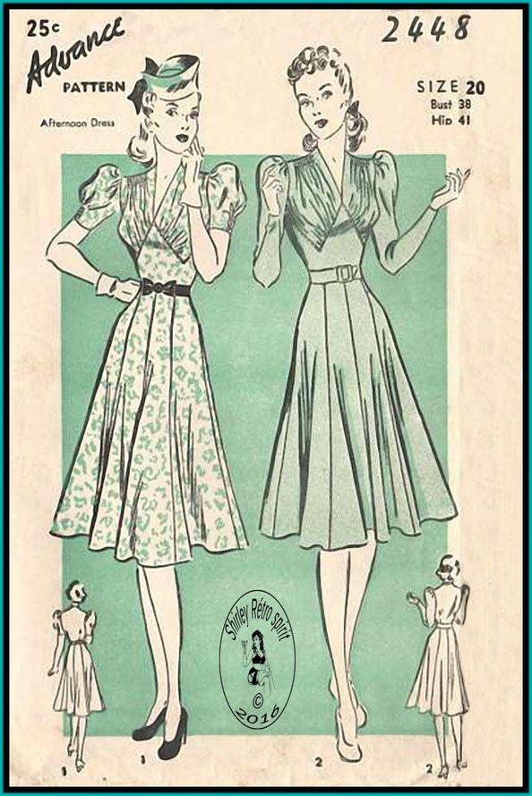 vintage sewing pattern summer dress 1940s advance 2448