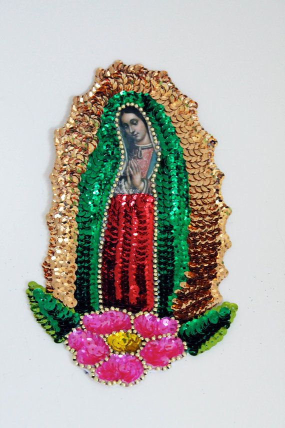 Guadalupe patch Medium large Virgin Mary Sequin Patch Our lady of Guadalupe for sewing crafting collage artwork / Bead applique on Etsy, $14.50Collage Artwork, Mexicans Tins
