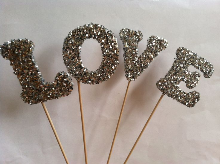 Tall Silver Glittered LOVE cake toppers  by detroitpapercompany, $12.99