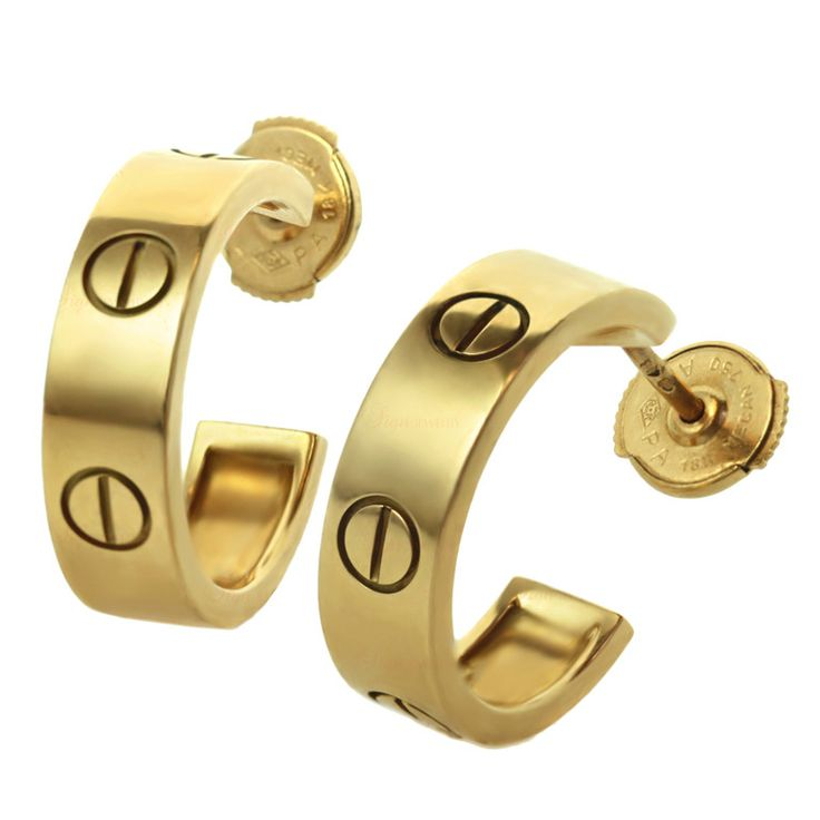 CARTIER Love Collection Open Hoop Yellow Gold Earrings