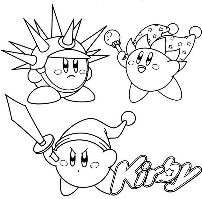 Sword Beam And Needle Kirby Coloring Page In 2020 Mermaid Coloring Pages Bear Coloring Pages Coloring Pages Winter