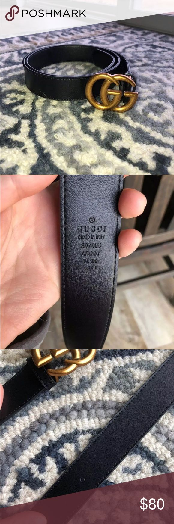 Gucci Belt 40.5 inches long, small scratch on buckle shown. Imprint of a hole that isn't a hole also shown. Price reflects authenticity question Gucci Accessories Belts