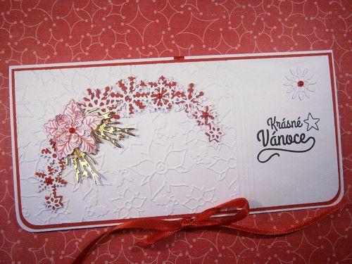 Vánoční přání s kapsou na peníze č.1(zavaz. stuha)