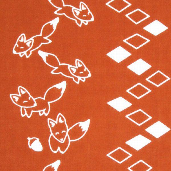 Japanese Tenugui Cotton Fabric, Fox & Mountain Road, Kawaii Animal Print, Hand Dyed Fabric, Cute Wall Tapestry, Home Decor Wall Art, JapanLovelyCrafts