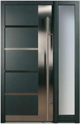 Puertas modernas exteriores hierro madera y crital - Puertas de metal ...