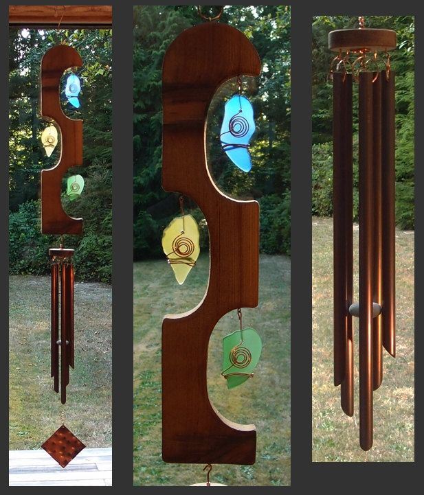 Windchimes, Suncatcher, Copper, Beach Glass, Sea Glass, Stained Glass, Windchime, Wind Chime.