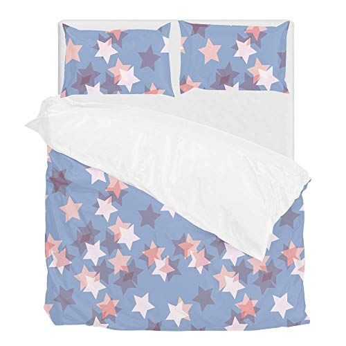 Top Carpenter Bedding Quilt Cover Set 3 Piece Suit Retro Stars Pattern 1 Duvet Cover 2 Pillowcases King Star Quilt Patterns Quilt Patterns Star Quilt