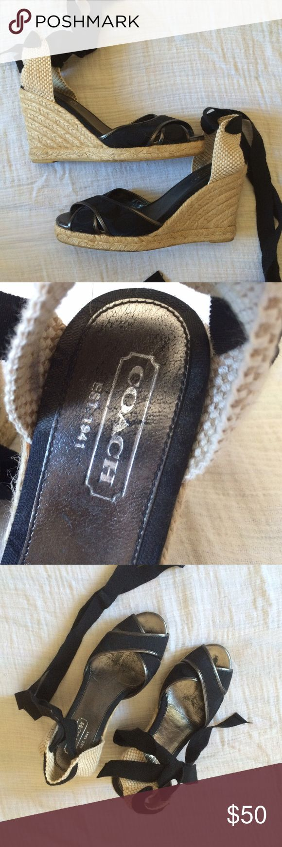 Coach Wedge Espadrilles Sandals, Black Coach wedge espadrilles in subtle coach pattern in black. 4 inch wedge and black ribbon ankle ties. Worn and used, in great condition. Some wear on the footbed. So fun for summer! Coach Shoes Wedges