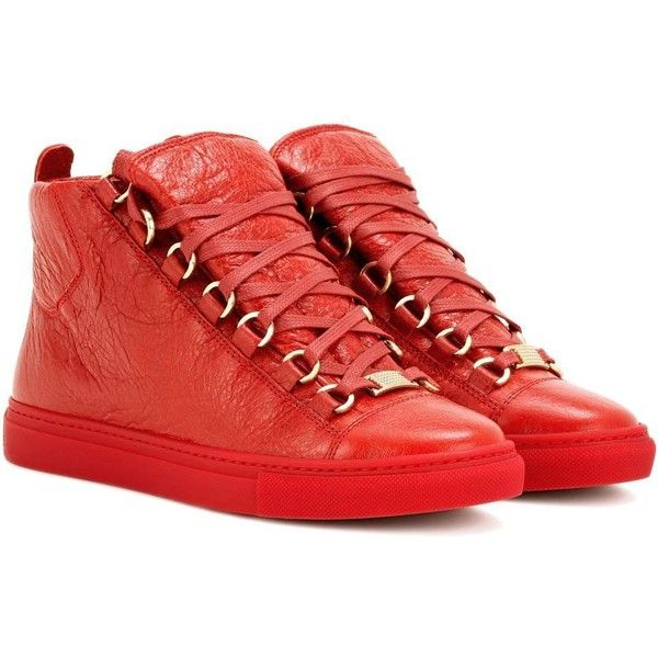 Balenciaga Arena High-Top Leather Sneakers (730 AUD) ❤ liked on Polyvore featuring shoes, sneakers, red, balenciaga shoes, red high top shoes, red trainers, balenciaga sneakers and red high tops