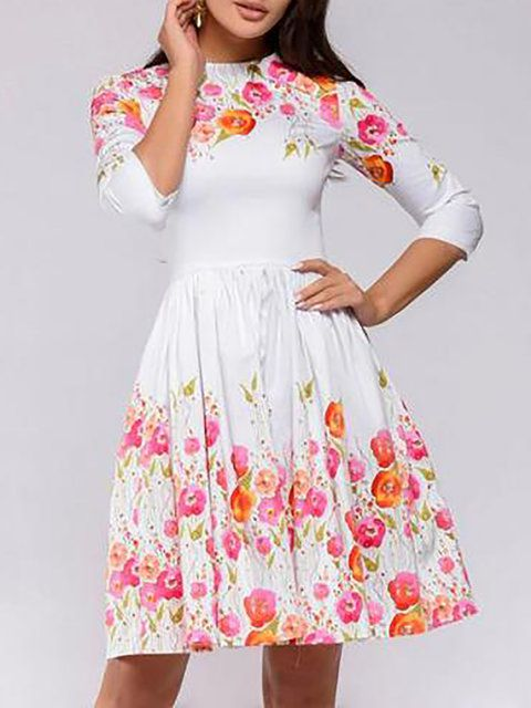 0b9561ff75 Online Shopping Stylewe Summer Dresses Casual Dresses Cocktail A-Line Crew  Neck 3/4 Sleeve Floral-Print Elegant Dresses, The Best Daily Midi Dresses.